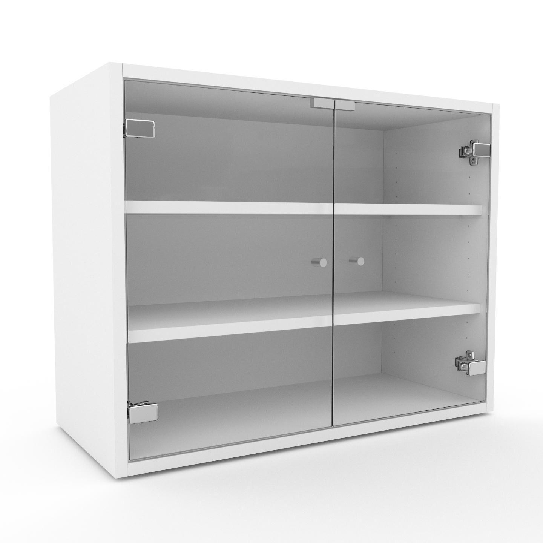 MYCS Vitrine - Verre clair transparent, moderne, pour documents, avec porte Verre clair transparent - 77 x 61 x 35 cm, personnalisable