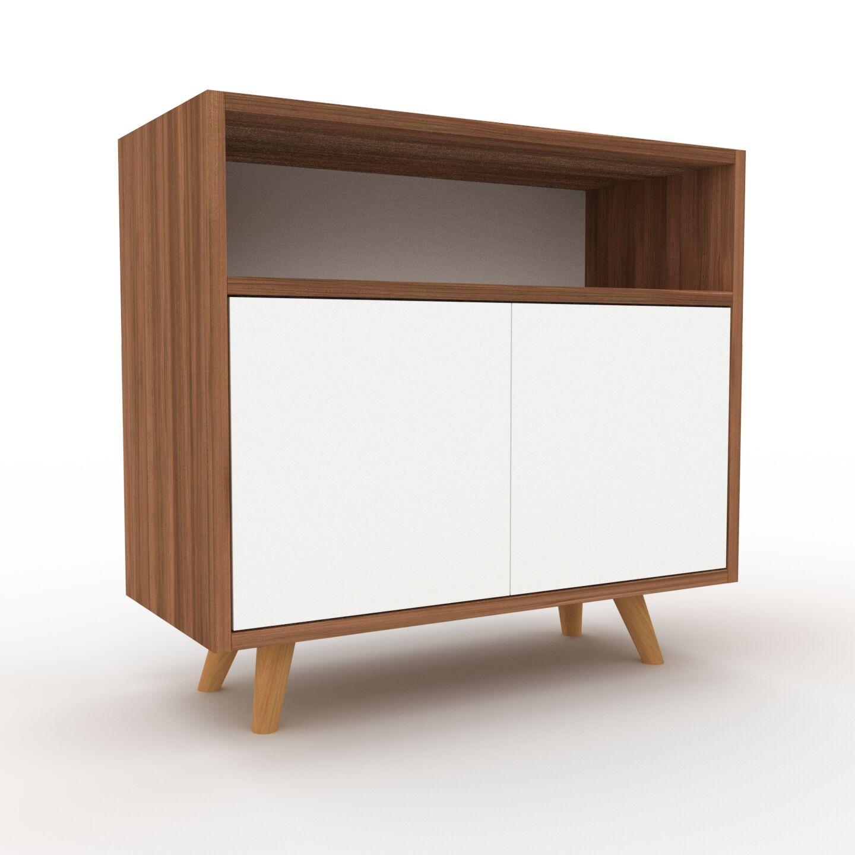 MYCS Placard - Noyer, contemporain, rangements, avec porte Blanc - 77 x 72 x 35 cm, modulable