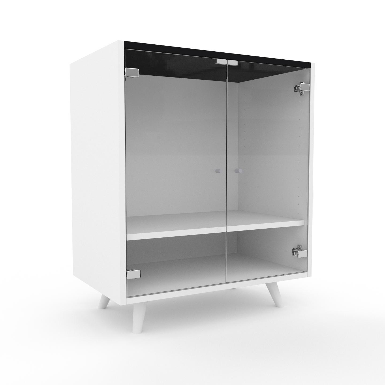 MYCS Vitrine - Verre clair transparent, moderne, pour documents, avec porte Verre clair transparent - 77 x 91 x 47 cm, personnalisable