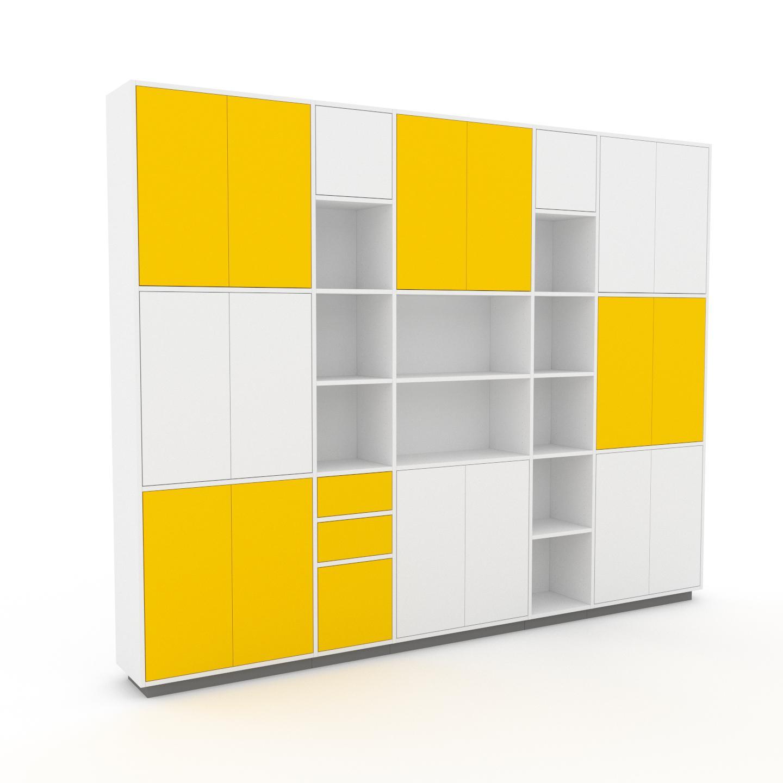 MYCS Placard - Blanc, moderne, rangements, avec porte Blanc et tiroir Jaune - 303 x 239 x 35 cm