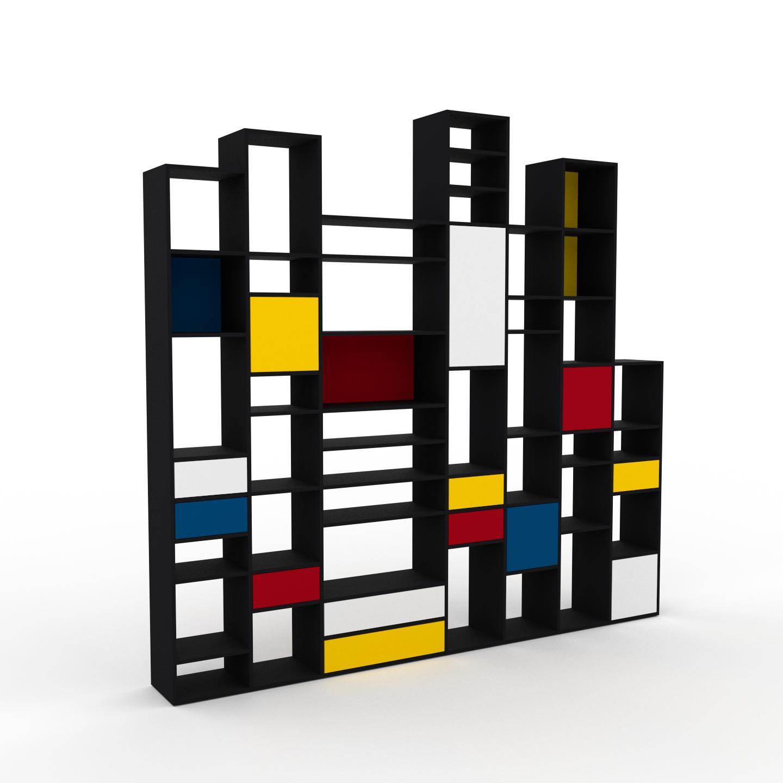 MYCS Placard - Noir, moderne, rangements, avec porte Blanc et tiroir Jaune - 308 x 291 x 35 cm