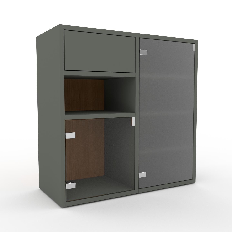 MYCS Vitrine - Verre clair dépoli, design, pour documents, avec porte Verre clair transparent et tiroir Vert de gris - 79 x 80 x 35 cm