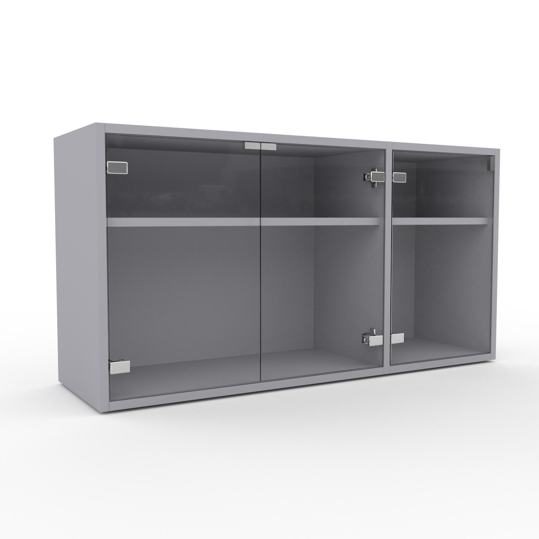 MYCS Vitrine - Verre clair transparent, moderne, pour documents, avec porte Verre clair transparent - 116 x 61 x 35 cm, personnalisable