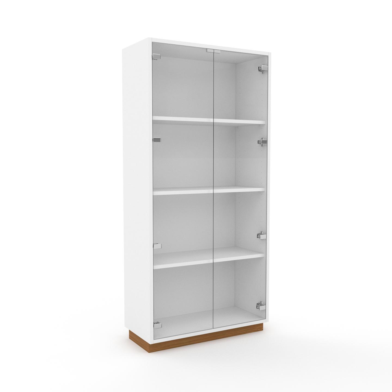 MYCS Vitrine - Verre clair transparent, moderne, pour documents, avec porte Verre clair transparent - 77 x 162 x 35 cm, personnalisable
