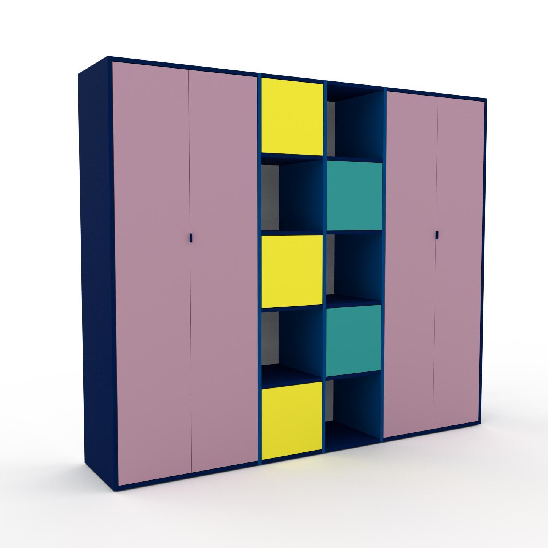MYCS Bibliothèque murale - Rose poudré, modèle moderne, étagère, avec porte Rose poudré - 229 x 195 x 47 cm, modulable
