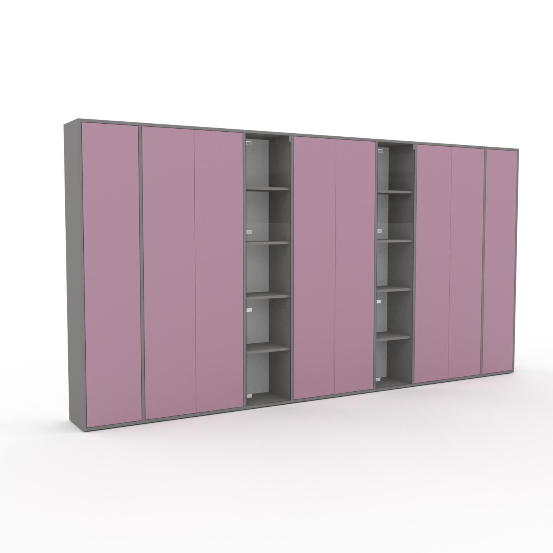 MYCS Armoire - Rose poudré, moderne, pour documents, avec porte Rose poudré - 380 x 195 x 35 cm, personnalisable