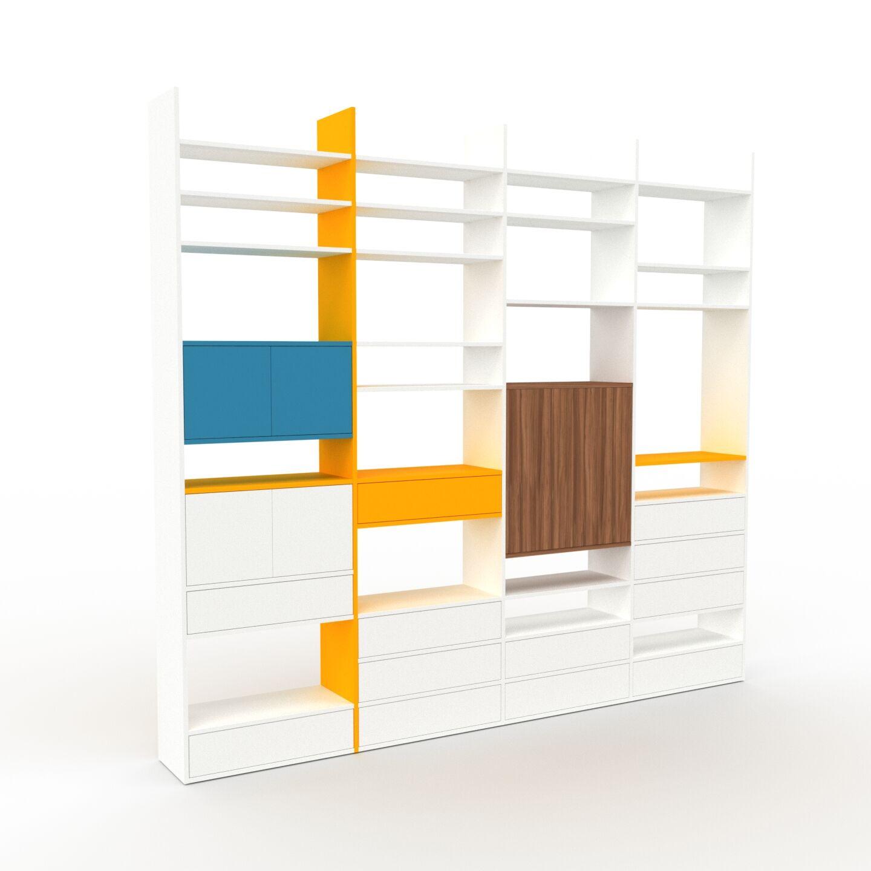 MYCS Placard - Blanc, moderne, rangements, avec porte Blanc et tiroir Blanc - 301 x 272 x 35 cm