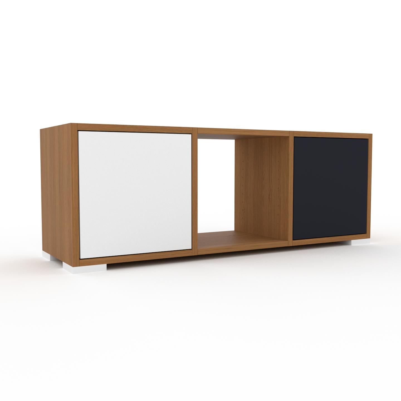 MYCS Placard - Chêne, contemporain, rangements, avec porte Blanc - 118 x 43 x 35 cm, modulable