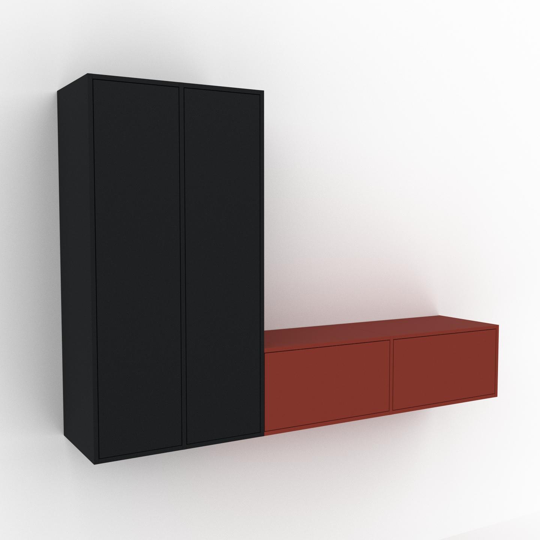 MYCS Étagère murale - Noir, combinable, placard, avec porte Noir et tiroir Terra cotta - 229 x 157 x 47 cm
