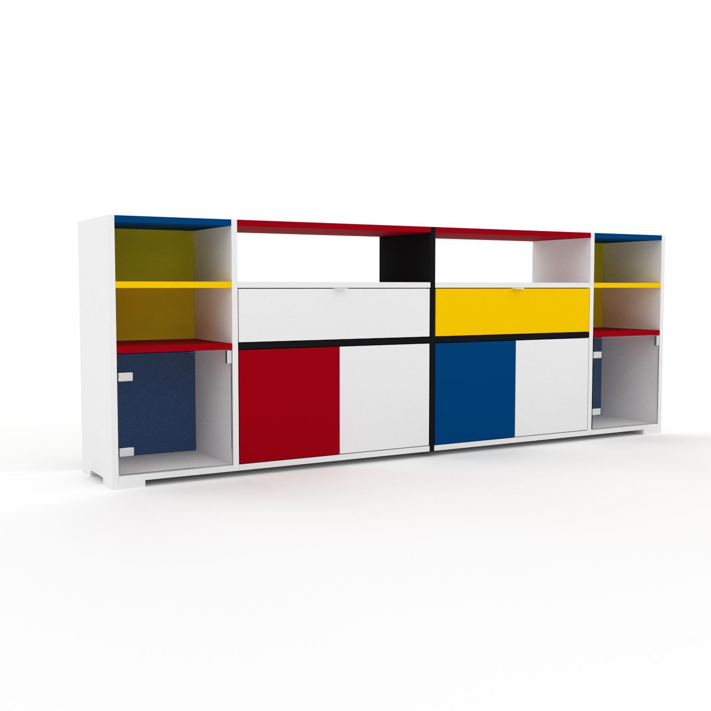 MYCS Enfilade - Blanc, design, buffet, avec porte Verre clair transparent et tiroir Blanc - 229 x 81 x 35 cm