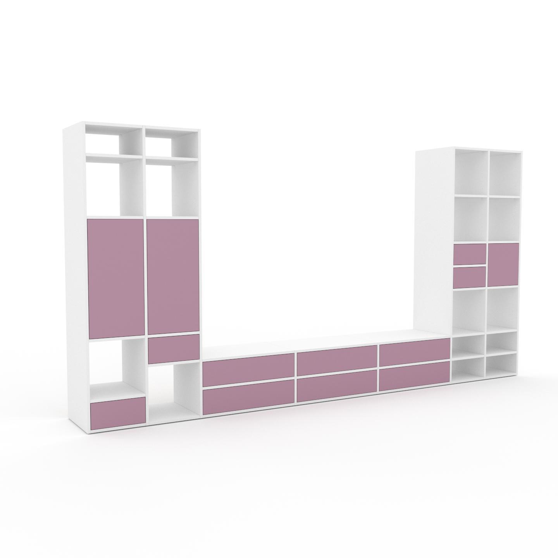 MYCS Meuble TV - Rose poudré, design, meuble hifi, multimedia, avec porte Rose poudré et tiroir Rose poudré - 380 x 195 x 47 cm