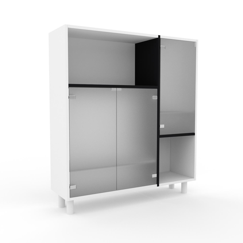 MYCS Vitrine - Verre clair dépoli, moderne, pour documents, avec porte Verre clair dépoli - 116 x 130 x 35 cm, personnalisable