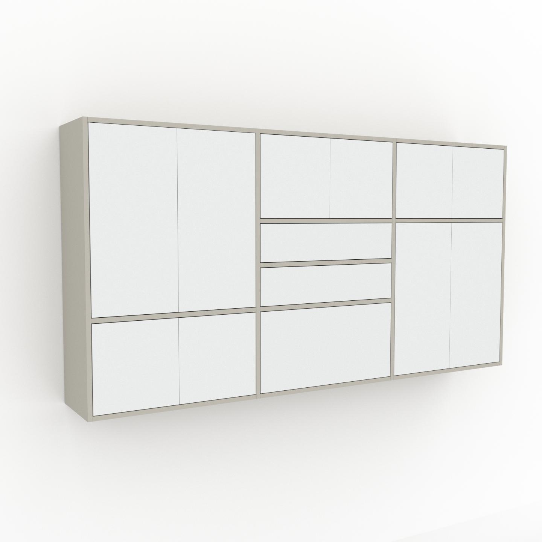 MYCS Étagère murale - Blanc, combinable, placard, avec porte Blanc et tiroir Blanc - 226 x 118 x 35 cm