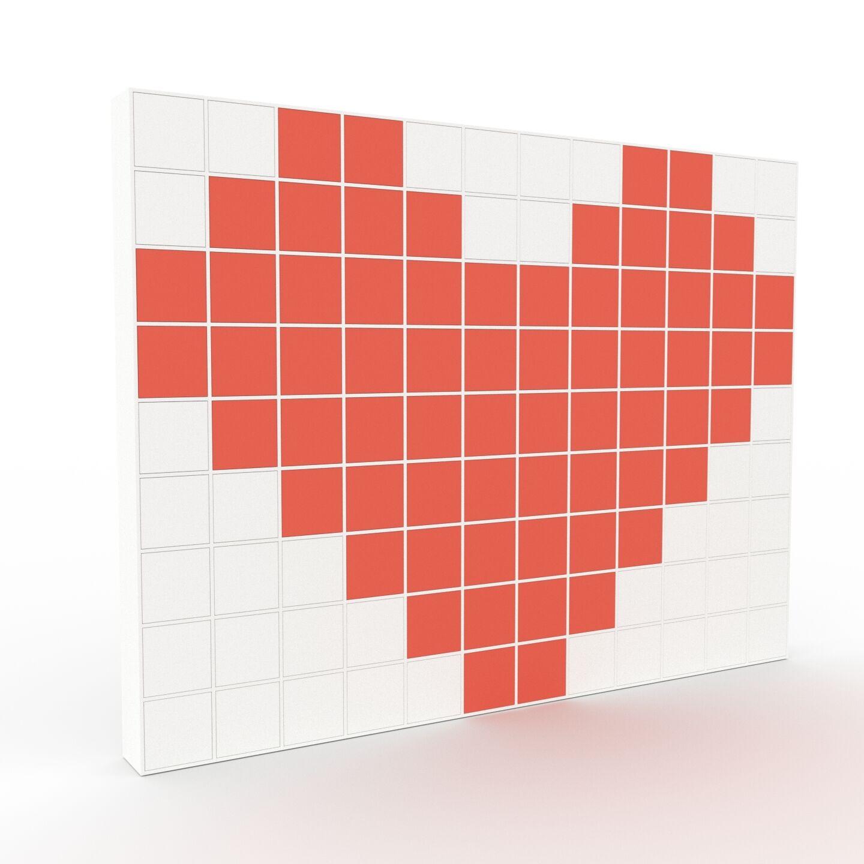MYCS Placard - Blanc, contemporain, rangements, avec porte Rouge - 464 x 349 x 35 cm, modulable