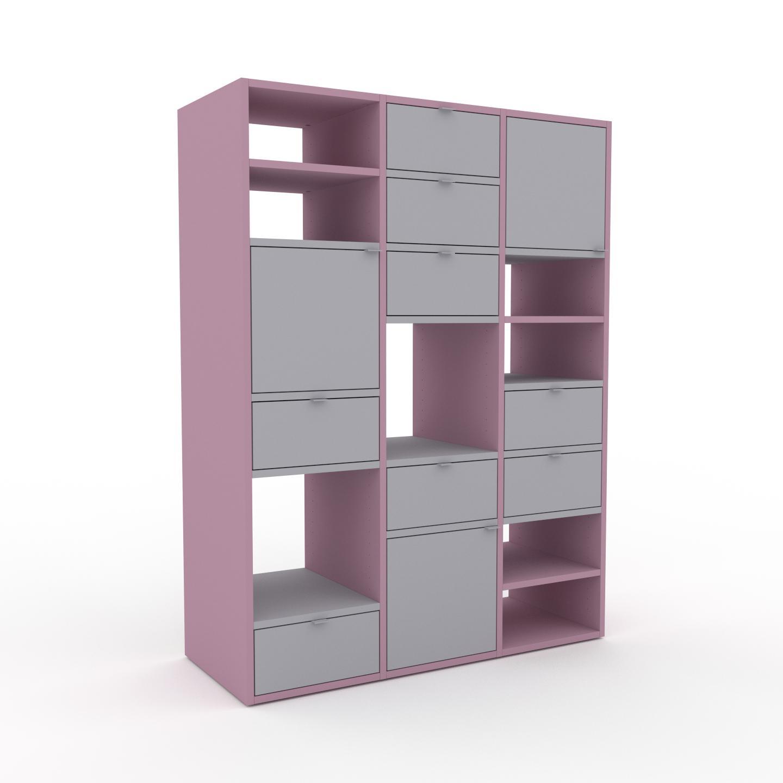 MYCS Buffet - Rose poudré, moderne, avec porte Gris clair et tiroir Gris clair - 118 x 157 x 47 cm