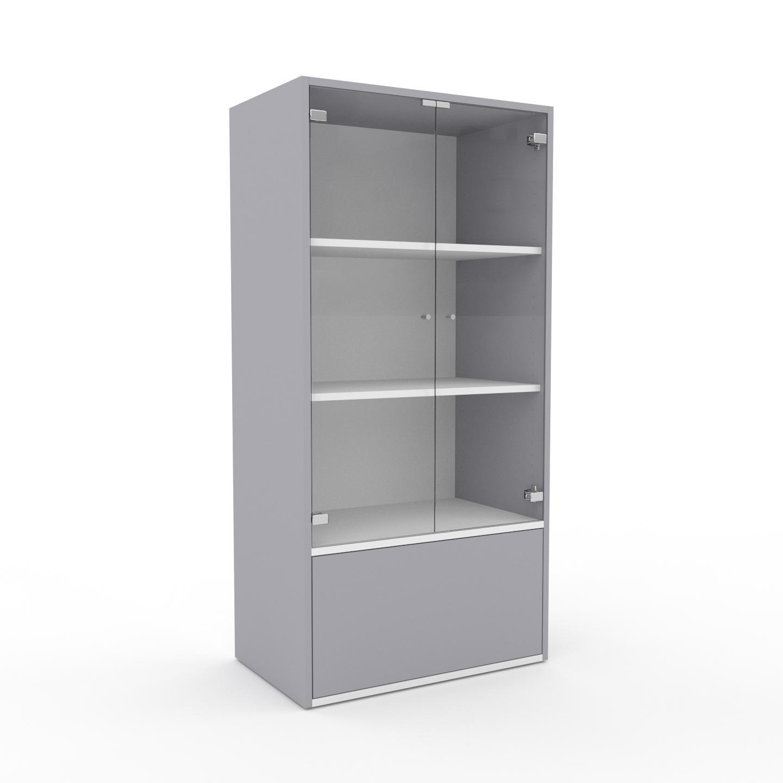 MYCS Vitrine - Verre clair transparent, design, pour documents, avec porte Verre clair transparent et tiroir Gris clair - 77 x 157 x 47 cm