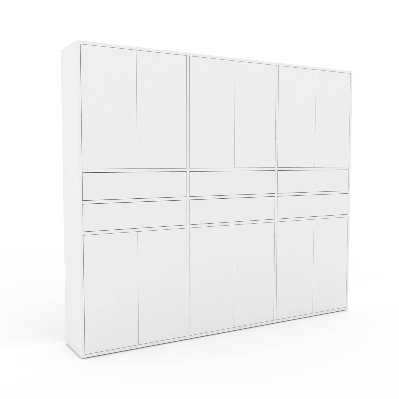 MYCS Placard - Blanc, moderne, rangements, avec porte Blanc et tiroir Blanc - 226 x 195 x 35 cm