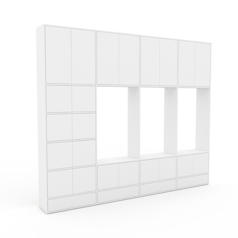 MYCS Placard - Blanc, moderne, rangements, avec porte Blanc et tiroir Blanc - 301 x 253 x 35 cm