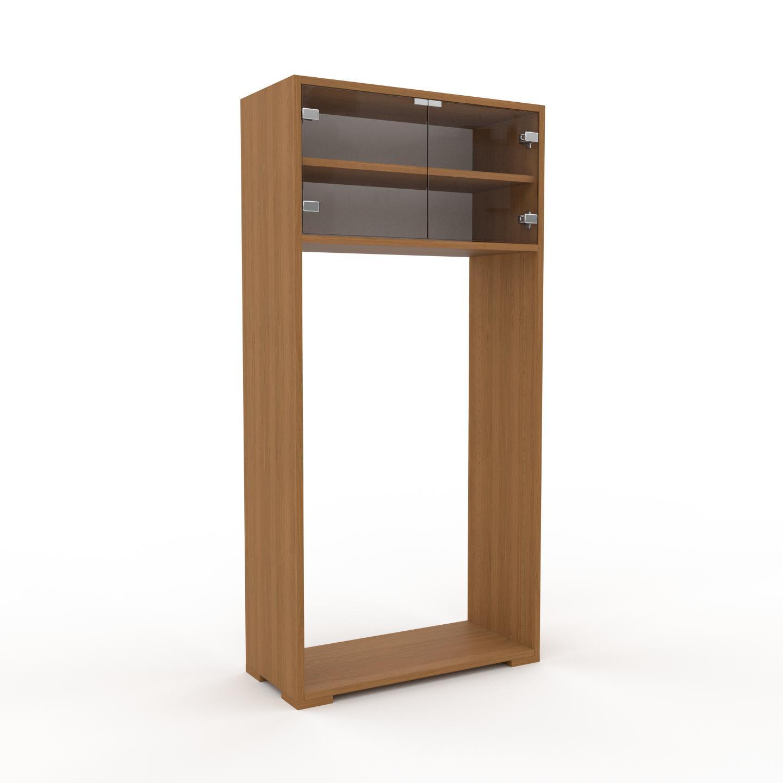 MYCS Vitrine - Verre clair transparent, moderne, pour documents, avec porte Verre clair transparent - 77 x 158 x 35 cm, personnalisable
