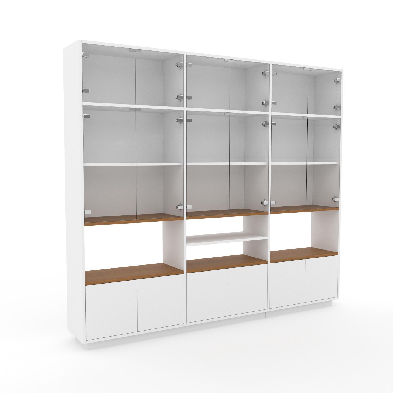 MYCS Vitrine - Verre clair transparent, moderne, pour documents, avec porte Verre clair transparent - 226 x 200 x 35 cm, personnalisable