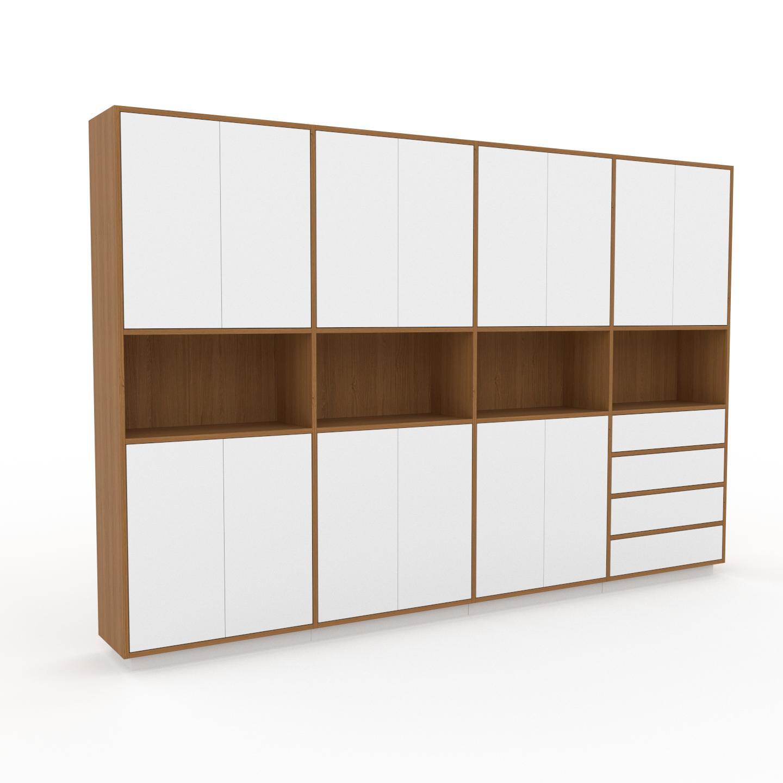 MYCS Placard - Chêne, moderne, rangements, avec porte Blanc et tiroir Blanc - 301 x 200 x 35 cm