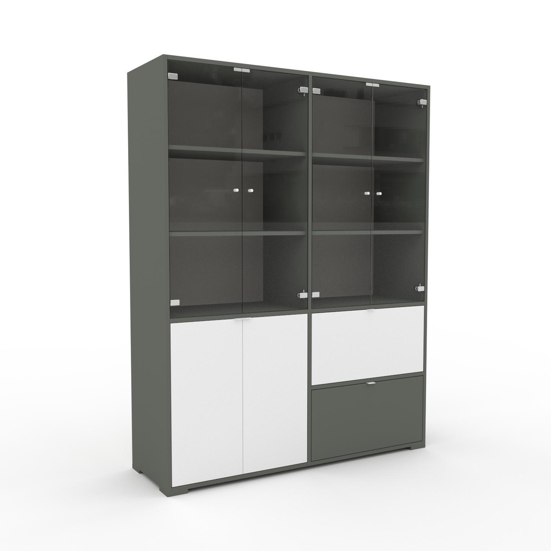 MYCS Vitrine - Verre clair transparent, design, pour documents, avec porte Verre clair transparent et tiroir Vert de gris - 152 x 196 x 47 cm