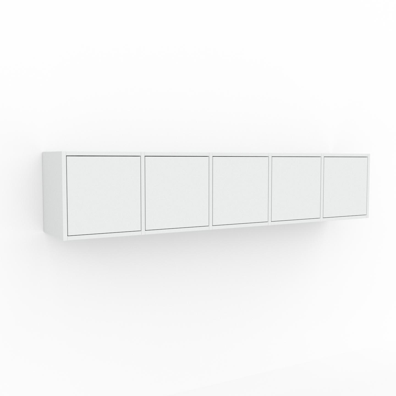 MYCS Étagère murale - Blanc, modèle moderne, placard, avec porte Blanc - 195 x 41 x 35 cm, modulable