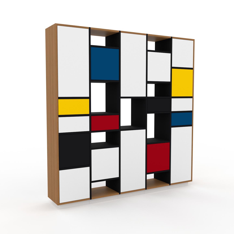 MYCS Placard - Noir, moderne, rangements, avec porte Blanc et tiroir Blanc - 195 x 200 x 35 cm