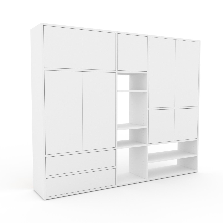 MYCS Placard - Blanc, moderne, rangements, avec porte Blanc et tiroir Blanc - 190 x 157 x 35 cm