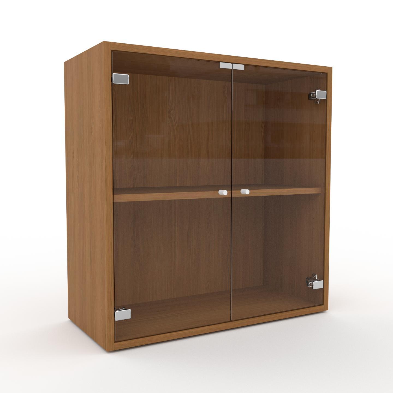 MYCS Vitrine - Verre clair transparent, moderne, pour documents, avec porte Verre clair transparent - 77 x 80 x 35 cm, personnalisable