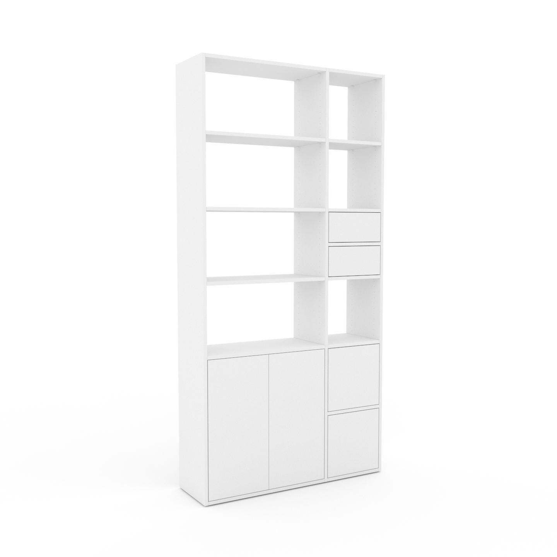 MYCS Placard - Blanc, moderne, rangements, avec porte Blanc et tiroir Blanc - 116 x 233 x 35 cm