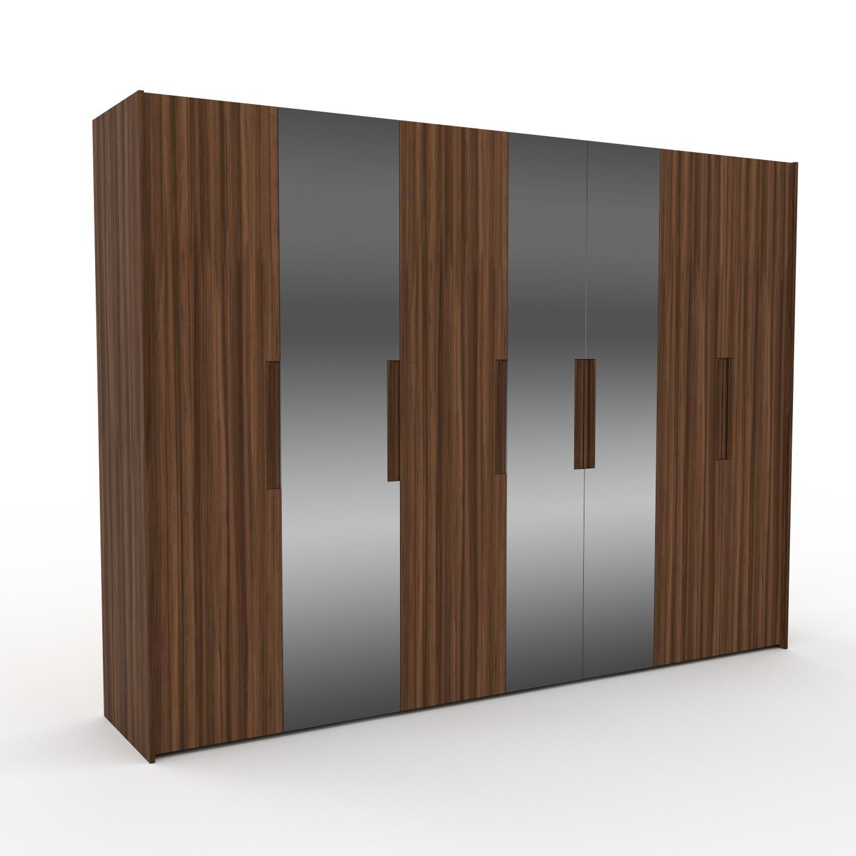MYCS Dressing - Noyer/Miroir, design, armoire penderie pour chambre ou entrée, à portes battantes - 314 x 233 x 62 cm, modulable