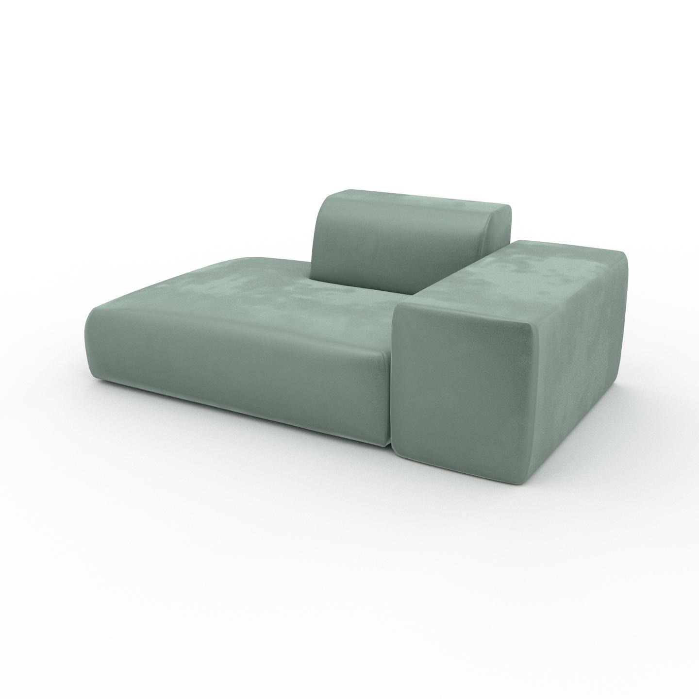 MYCS Canapé Velours - Bleu Glacier, forme arrondie, canapé bas et profond pour salon, en tissu sans pieds - 182 x 72 x 107 cm, modulable