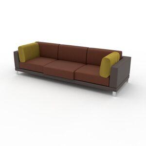 MYCS Canapé en cuir - Cognac/Jaune Colza Cuir Végan, lounge, esprit club ou cosy avec toucher chaleureux, 268x 75 x 98 cm, modulable - Publicité