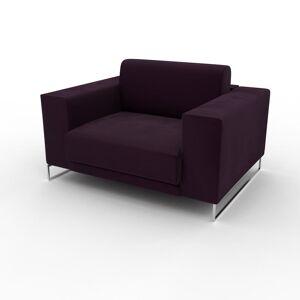 MYCS Fauteuil Velours - Aubergine, modèle épuré, grand fauteuil en tissu avec pieds personnalisables - 128 x 75 x 98 cm, modulable - Publicité