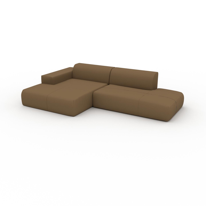 MYCS Canapé en cuir - Noix Cuir Nubuck, lounge, esprit club ou cosy avec toucher chaleureux - 296 x 72 x 168 cm, modulable