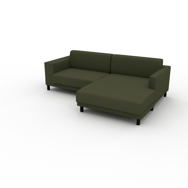 MYCS Canapé d'angle - Vert Olive, design épuré, canapé en L ou angle, élégant avec méridienne ou coin - 236 x 75 x 162 cm, modulable