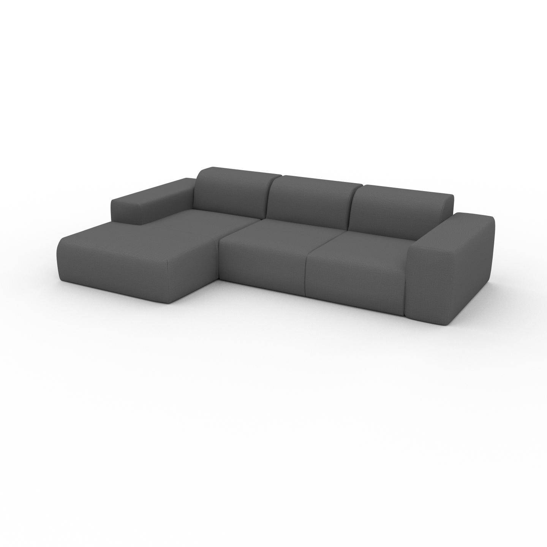 MYCS Canapé d'angle - Gris Pierre, design arrondi, canapé en L ou angle, confortable avec méridienne ou coin - 293 x 72 x 168 cm, modulable