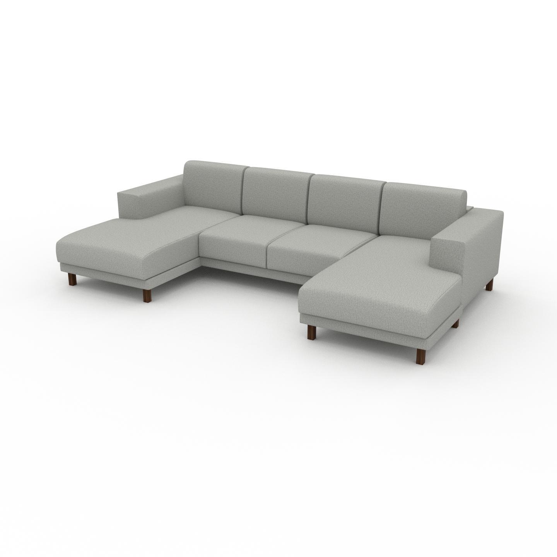 MYCS Canapé en U - Gris Clair, design épuré, canapé d'angle panoramique, grand et tendance, avec pieds - 288 x 75 x 162 cm, modulable