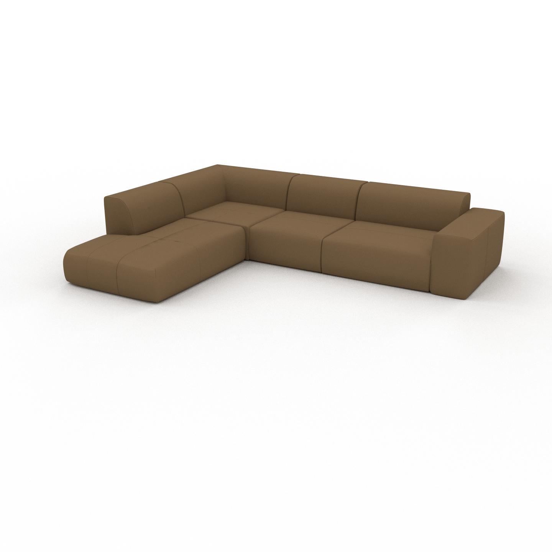 MYCS Canapé en cuir - Noix Cuir Nubuck, lounge, esprit club ou cosy avec toucher chaleureux - 314 x 72 x 241 cm, modulable