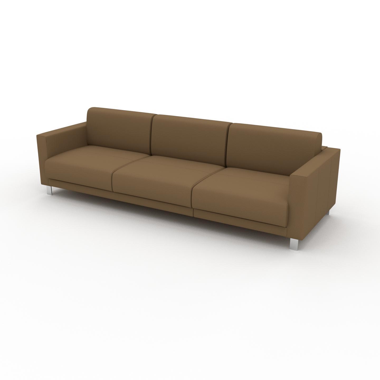 MYCS Canapé en cuir - Noix Cuir Nubuck, lounge, esprit club ou cosy avec toucher chaleureux, 264x 75 x 98 cm, modulable
