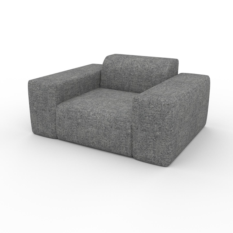 MYCS Fauteuil - Gris Pierre, forme arrondi, grand fauteuil en tissu, bas et profond - 141 x 72 x 107 cm, modulable