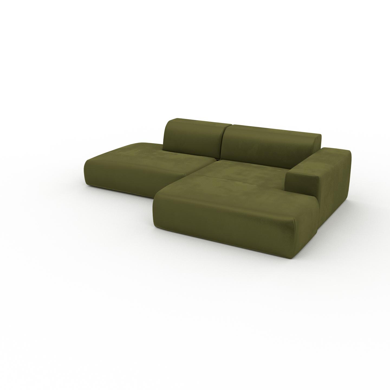 MYCS Canapé d'angle Velours - Vert Olive, design arrondi, canapé en L ou angle, confortable avec méridienne ou coin - 270 x 72 x 168 cm, modulable