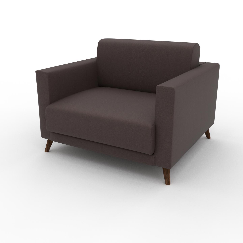 MYCS Fauteuil - Marron café, modèle épuré, grand fauteuil en tissu avec pieds personnalisables - 105 x 75 x 98 cm, modulable