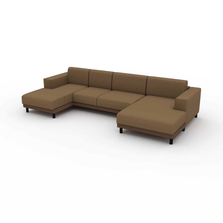 MYCS Canapé en U - Noix, design épuré, canapé d'angle panoramique, grand et tendance, avec pieds - 328 x 75 x 162 cm, modulable
