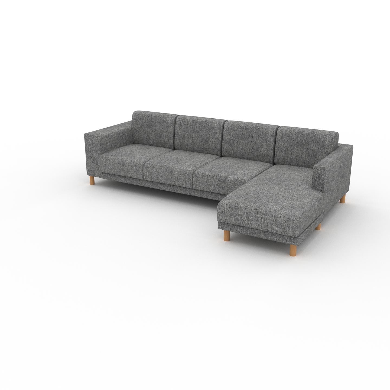 MYCS Canapé d'angle - Gris Pierre, design épuré, canapé en L ou angle, élégant avec méridienne ou coin - 276 x 75 x 162 cm, modulable