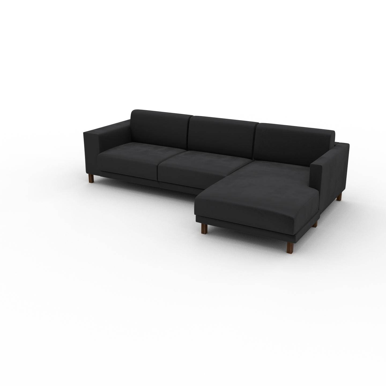 MYCS Canapé d'angle Velours - Gris Pierre, design épuré, canapé en L ou angle, élégant avec méridienne ou coin - 276 x 75 x 162 cm, modulable