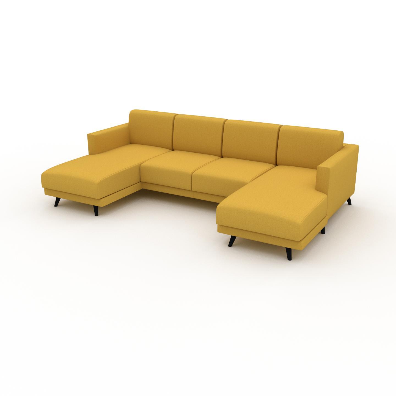MYCS Canapé en U - Jaune Colza, design épuré, canapé d'angle panoramique, grand et tendance, avec pieds - 265 x 75 x 162 cm, modulable