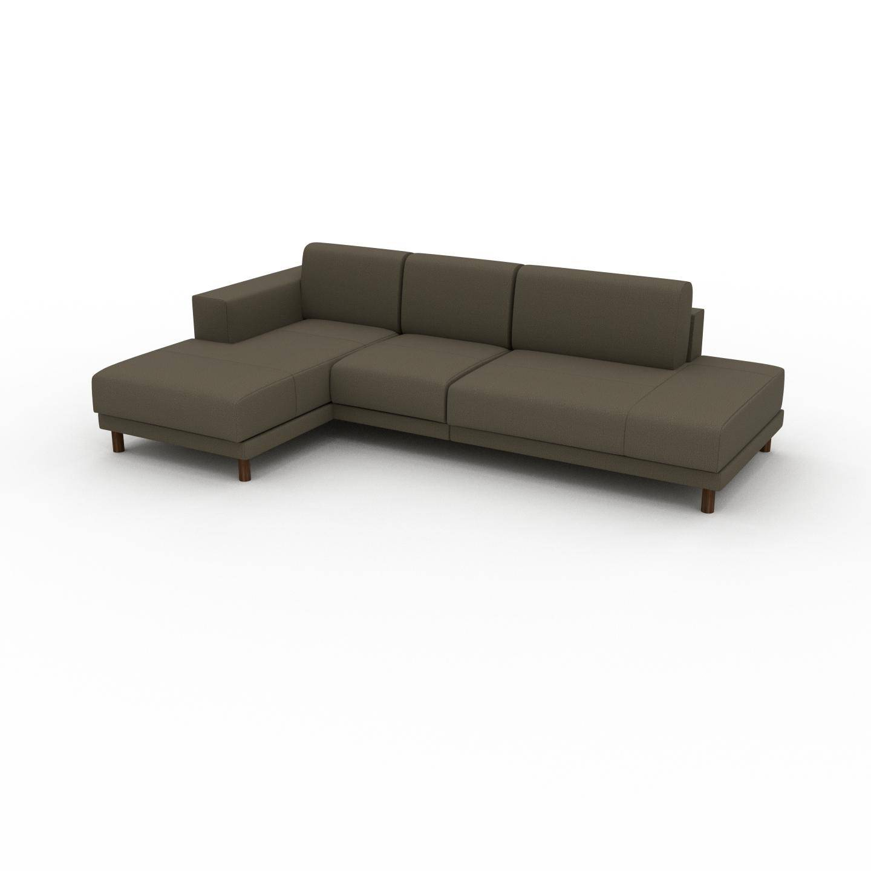 MYCS Canapé d'angle - Vert olive, design épuré, canapé en L ou angle, élégant avec méridienne ou coin - 264 x 75 x 162 cm, modulable