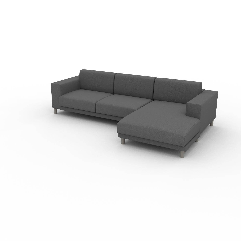 MYCS Canapé d'angle - Gris Pierre, design épuré, canapé en L ou angle, élégant avec méridienne ou coin - 288 x 75 x 162 cm, modulable